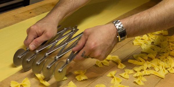 Homemade bow tie pasta