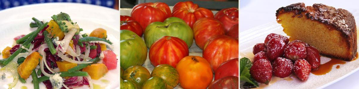 Beet salad, heirloom tomatoes, olive cake