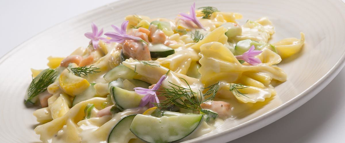 Bow tie pasta with summer vegetables